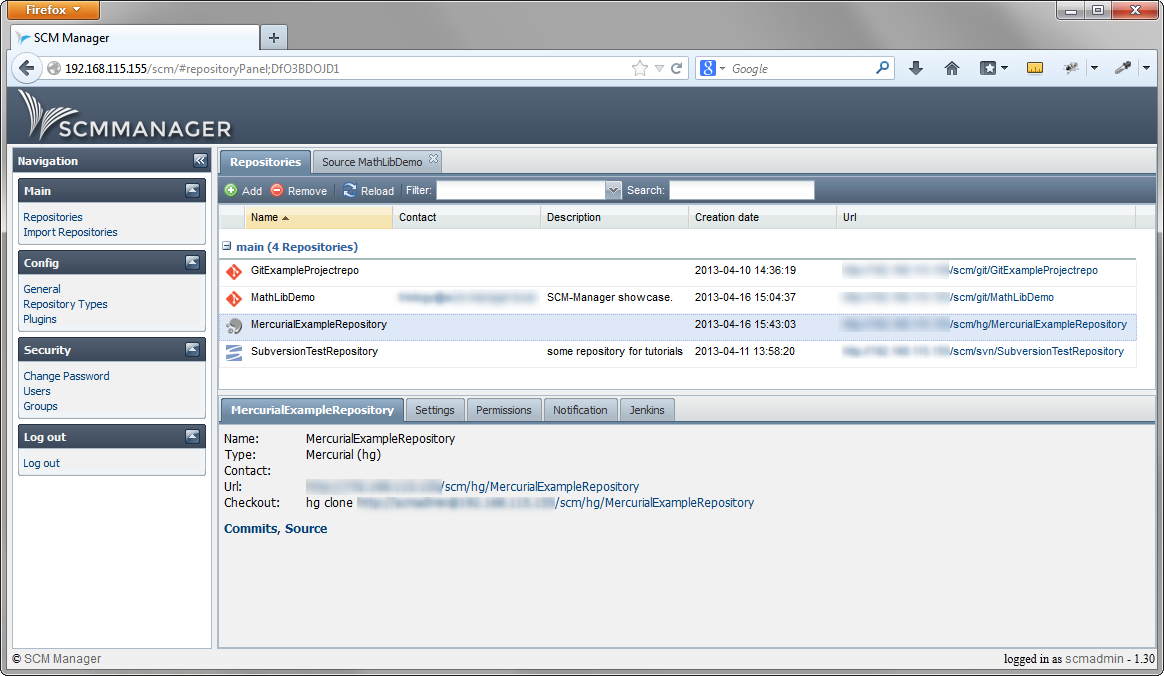 Mercurial repositories in SCM-Manager