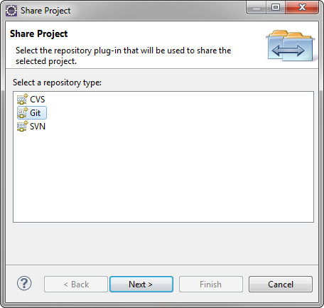 Share Git project in Eclipse