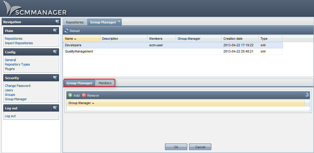 Group Manager configuration for repositories