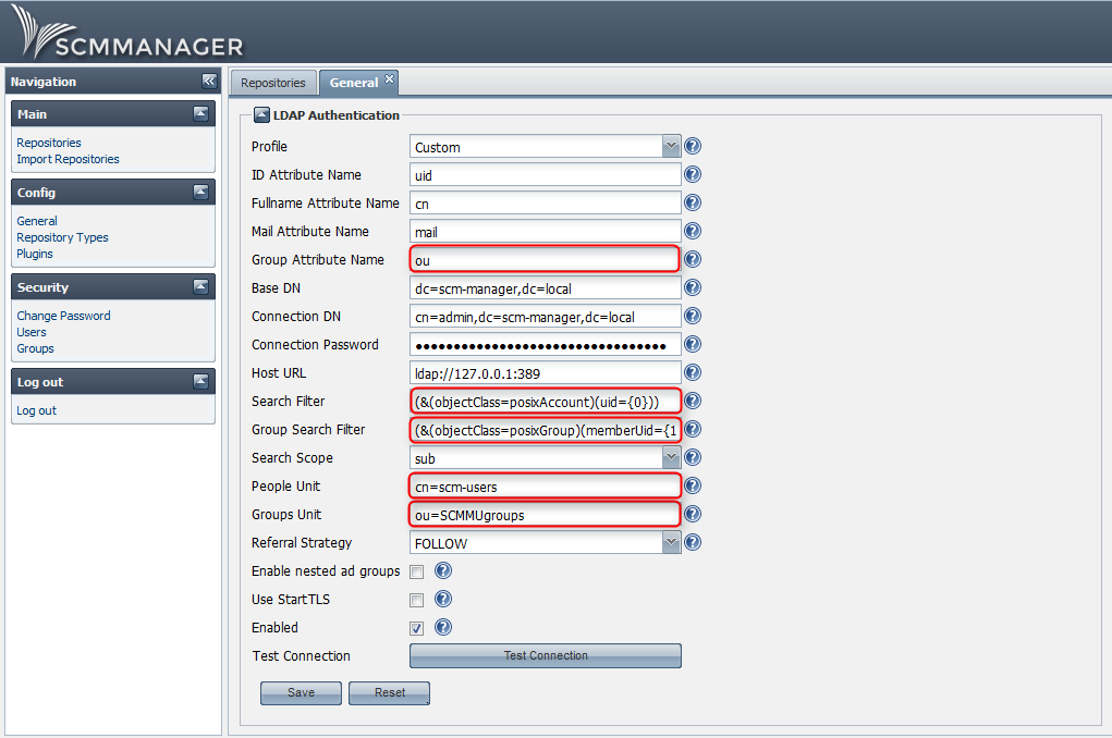 SCM-Manager LDAP configuration