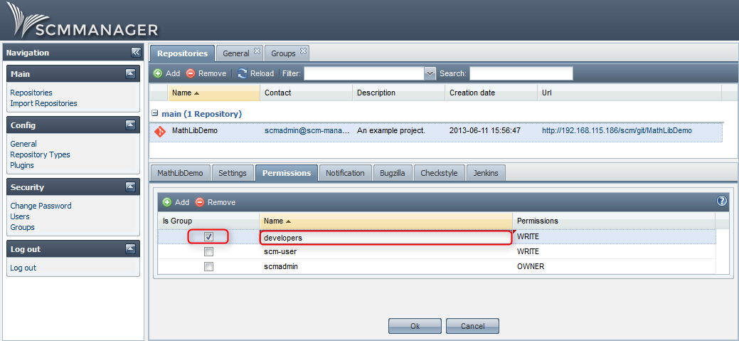 Repository permissions in SCM-Manager