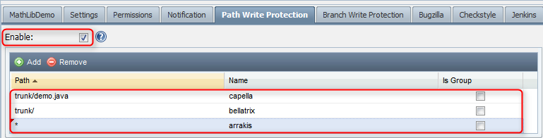 Path write protection configuration