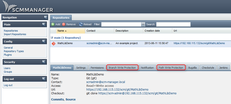 SCM-Manager branch and path write protection tabs