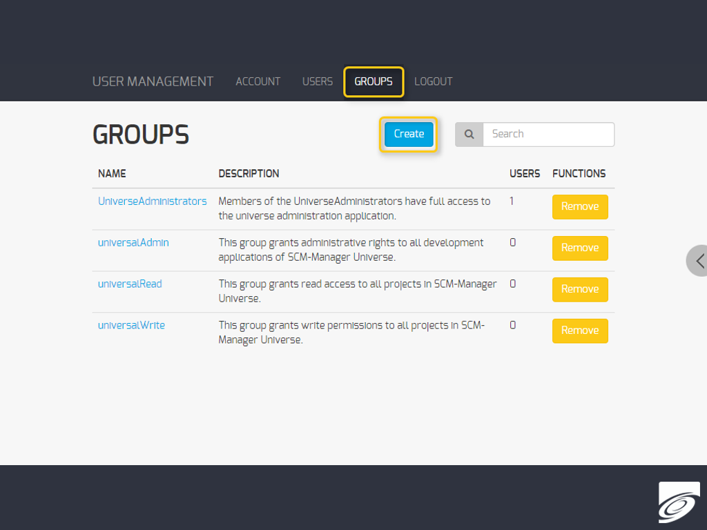 Add new group in User Management
